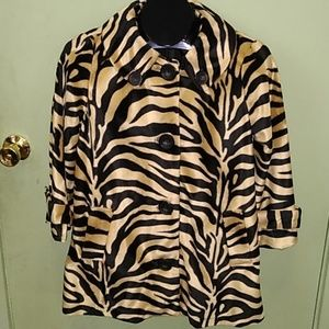 Faux fur animal print jacket  S/M vintage style